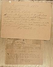 Garibaldi Giuseppe, Biglietto autografo con firma. Datato 25 [gennaio] 1880, Caprera.