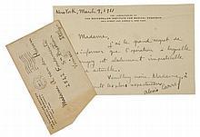 Carrel Alexis, Lettera autografa firmata. Datata 9 marzo 1911, New York.