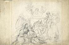 Bartolomeo Pinelli [attribuito a], Gruppo di popolani con devoto e pifferaio presso un tabernacolo dedicato alla Madonna.
