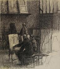 Georges-Pierre Seurat [cerchia di], Interno di atelier.