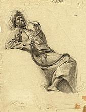 Cesare Biseo, Arabo che fuma il narghilè.