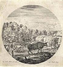 Stefano Della Bella, Mandria di armenti e due paesani al guado di un ruscello.