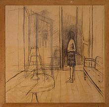 Guido Somarè, Studio per un interno con tappeto rosso.