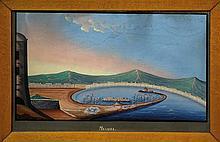 Anonimo del XX secolo, Due pitture 'a Guazzo' raffiguranti Palermo e Messina.