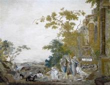 A 19th century needlework picture after Nicholas Poussin, et in arcadia ego, 2ft 10in. x 2ft 5in.