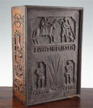 A 16th century style German carved fruitwood bible box, 15.5 x 10.5 x 6in.