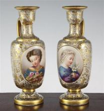 A pair of Bohemian enamelled and gilt decorated glass ewers, late 19th century, 20.5cm