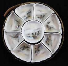 A Japanese lacquered boxed porcelain supper set, c.1900, total diam.31.5cm