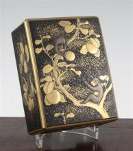 A Japanese gilt decorated lacquer rectangular box and cover, early 20th century, 16cm