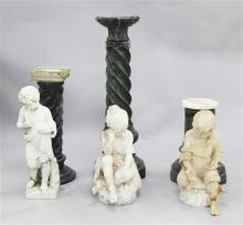 A pair of early 20th century Italian carved alabaster figures, 2ft 3in., damaged