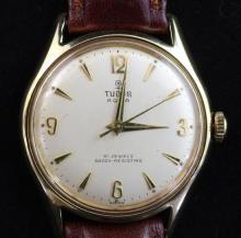 A gentleman's 1960's? gold plated and steel Tudor Aqua manual wind wristwatch,
