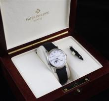 A gentleman's 18ct white gold Patek Philippe 'Officer's' wrist watch, model 5054G-001,
