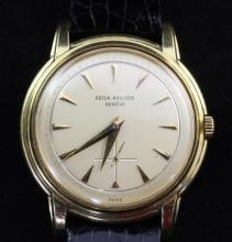 A gentleman's 1950's 18ct gold Patek Philippe Calatrava manual wind wristwatch,