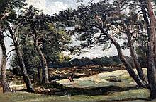 Frederick William Watts (1800-1862) Landscape with pine trees, 5 x 7in.
