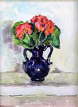 § Duncan Grant (1885-1978) Geraniums in a blue vase, c.1960, 14 x 10.5in. Provenance: The Artist's Estate