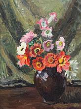 § Vanessa Bell (1879-1961) Flowers in a black pot, c.1948, 16 x 12in.