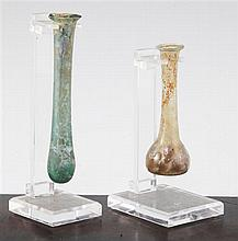 Two Roman glass unguentarium, c.2nd century A.D., 12.5 and 9.5cm