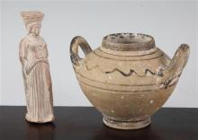 A Mycenaean two-handed jar, c.5th century B.C. and a Athenian Kore figure, c. 300 B.C., 10.5 and 13cm