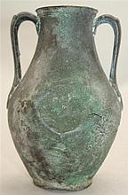 An Ancient bronze amphora, probably Greek, c. 4th century B.C., 13.5cm, dented