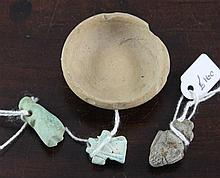 Three Egyptian faience amulets, 4.5cm