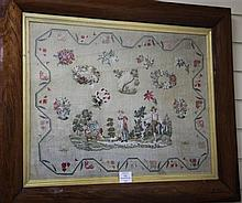A Victorian needlework panel, 31 x 25.5in.
