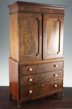 A Regency mahogany apprentice piece linen press, 28.25in.