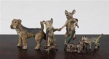 A Bergman Austrian cold painted bronze Airedale Terrier & 4 others