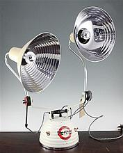 A 1940's Perlihel adjustable twin sun lamp, 30ins high