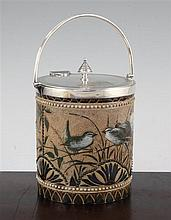 A Doulton Lambeth stoneware biscuit barrel, by Florence E. Barlow, dated 1884, 16cm. to finial