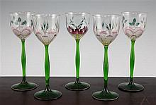 Five Theresienthal Bohemian hock glasses, early 20th century, 21.5cm.