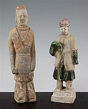 Two Chinese pottery figures, Wei and Ming dynasty, 24.5cm.