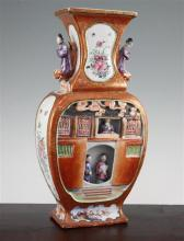 An unusual Chinese famille rose figural vase, Qianlong period, 36.7cm.