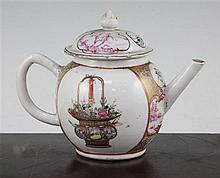 A Chinese export famille rose globular teapot, Qianlong period, 14.5cm., some damage