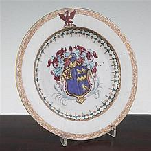 A Chinese export armorial famille rose plate, Yongzheng / Qianlong period, made for the Continental market, 21.5cm., some damage
