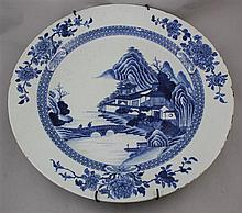 A large Chinese export blue and white dish, Qianlong period, 42.5cm., slight damage