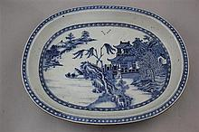 A Chinese export blue and white oblong dish, Qianlong period, 37cm.