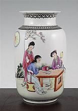 A Chinese famille rose lantern shaped vase, 20th century, 19.5cm.