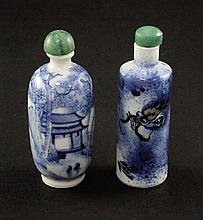 Two Chinese blue and white porcelain snuff bottles, 1860-1908, 8.2cm. and 8cm.