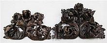 Two 17th / 18th century Portuguese baroque carved chestnut crestings, largest 40 x 24in.