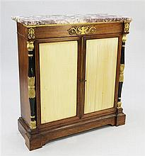 A Regency rosewood and ormolu mounted marble top side cabinet, W.3ft 3in.