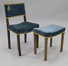 A George VI Coronation chair and a similar Elizabeth II Coronation stool,