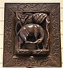 An Indian relief carved hardwood panel, 18 x 16in.