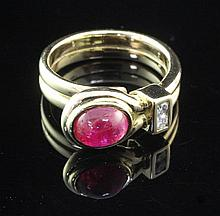 A 1950's/1960's? French 18ct gold ruby and diamond ring, size L.