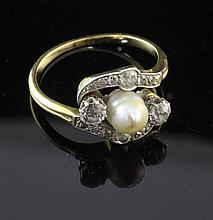 An early 20th century gold, cultured pearl and diamond ring, size R.