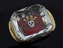 A late 17th century gold mounted stuart crystal mourning slide, 0.75in.