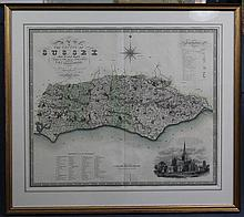 C & J Greenwood 'Map of The County of Sussex, Made in the Years 1823 and 1824', 23 x 27.5in.