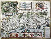 John Speed Sussex Described and Divided, 1696, 15.5 x 20.75in.