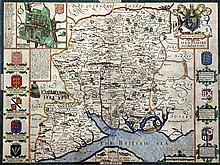 John Speed Map of Hantshire, Described and Devided, 15 x 20.25in.