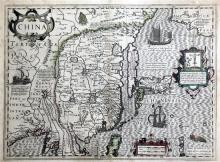 Mercator & Hondius Maps of China and Ceilan que incolis Tenarisin dictur.. overall 17.5 x 21.5in.