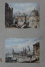 19th C. English School Views of Rome and Venice, 2 x 3in. framed as one.